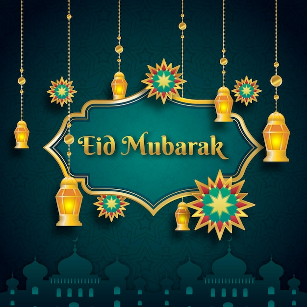 Flat design eid mubarak with lantenrs Free Vector