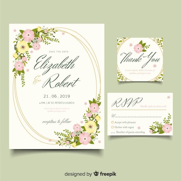 Flat design elegant wedding invitation template Free Vector