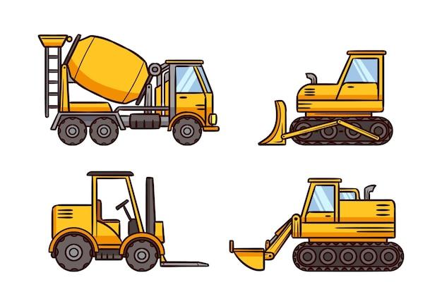 Collezione di escavatori design piatto Vettore gratuito