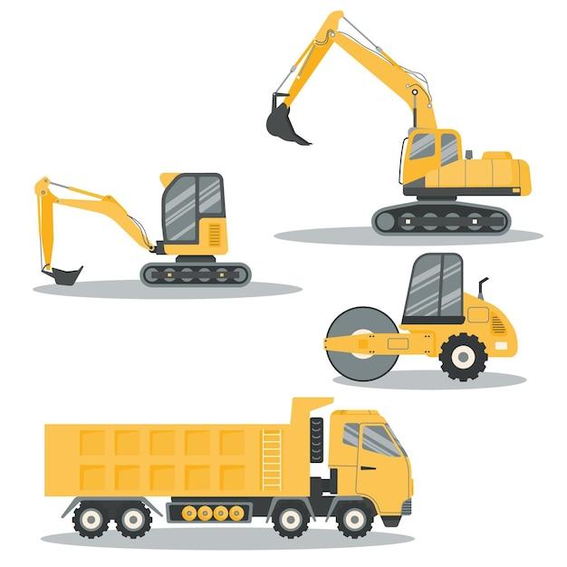 Pacchetto escavatore design piatto Vettore gratuito
