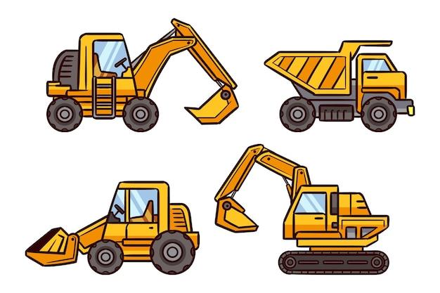 Set escavatore design piatto Vettore gratuito