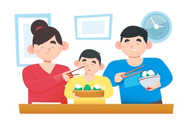 Плоский дизайн семьи ест цзунцзы Бесплатные векторы