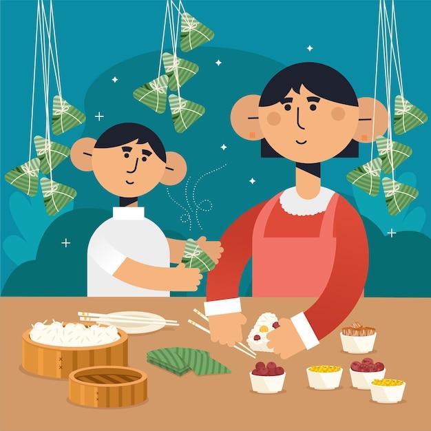 Famiglia design piatto preparando zongzi Vettore gratuito