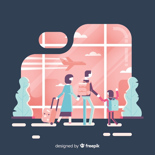 Flat design family traveling background Free Vector