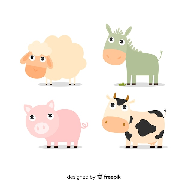 Flat design farm animal collection Free Vector