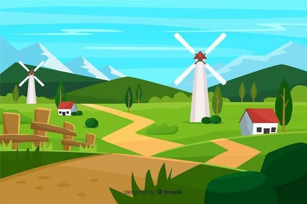 Flat Design Farm Landscape Background Free Vector