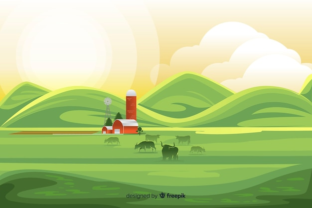 Flat design farm landscape background Free Vector