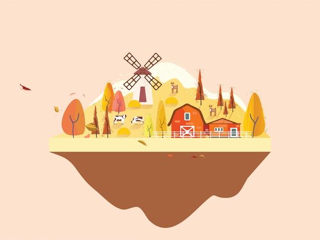 Flat design of farmville in countryside in autumn. minimal autumn landscape. Premium Vector