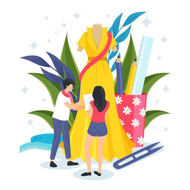 Illustrazione di designer di moda design piatto Vettore gratuito