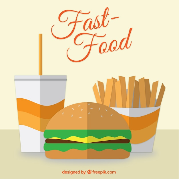 Flat design fast food vector free download for Flat design pictures