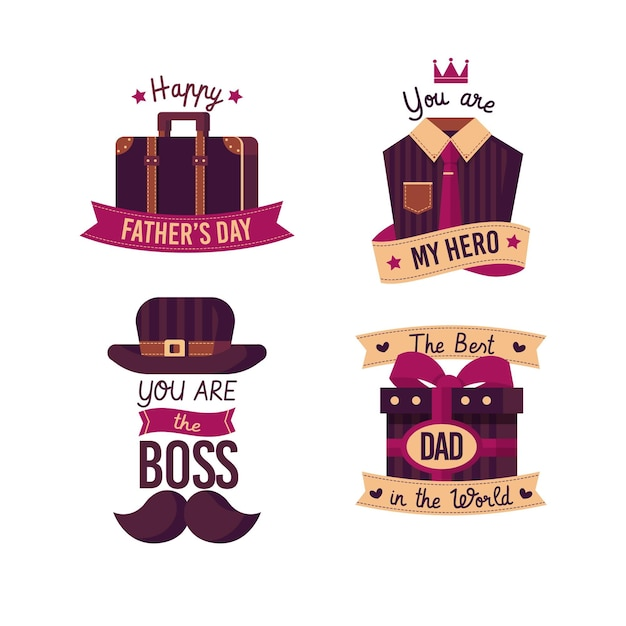 Distintivi di festa del papà design piatto Vettore gratuito
