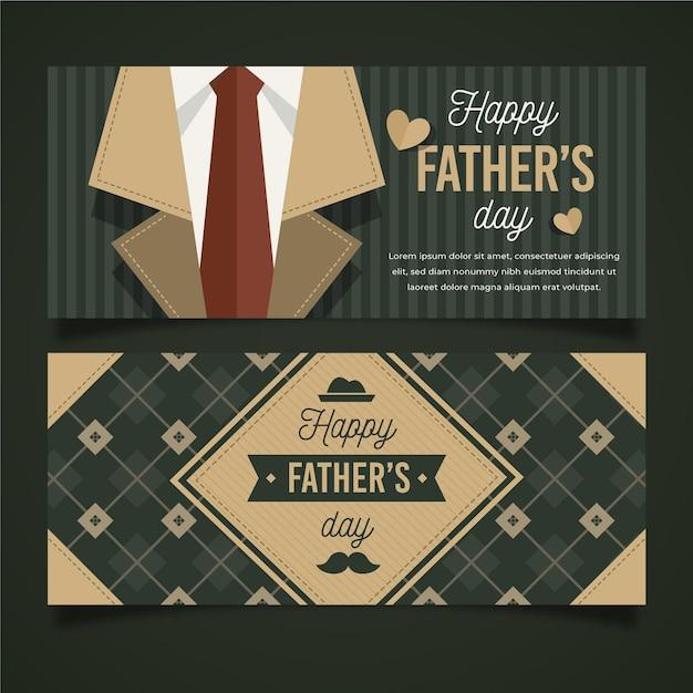 Плоский дизайн отца день горизонтальные баннеры Бесплатные векторы