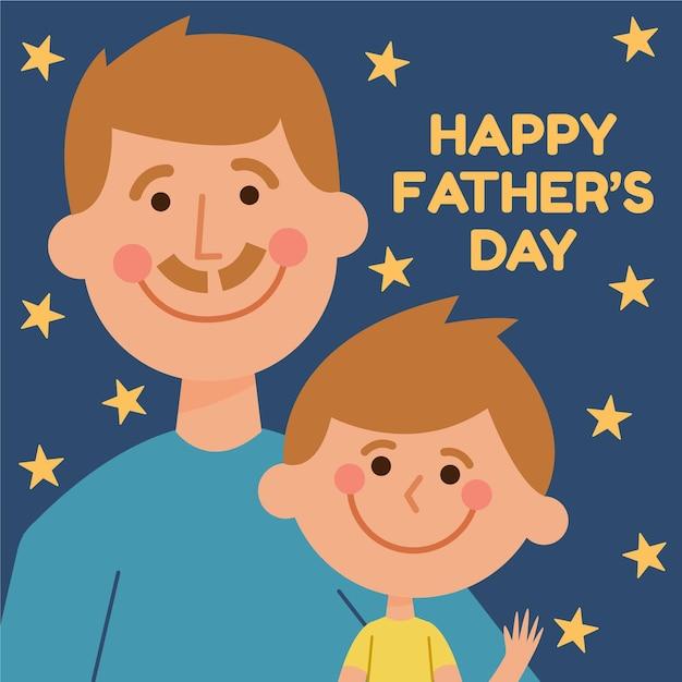 Illustrazione di festa del papà design piatto con il figlio Vettore gratuito