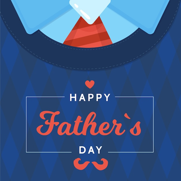 Flat design father's day shirt with tie Free Vector