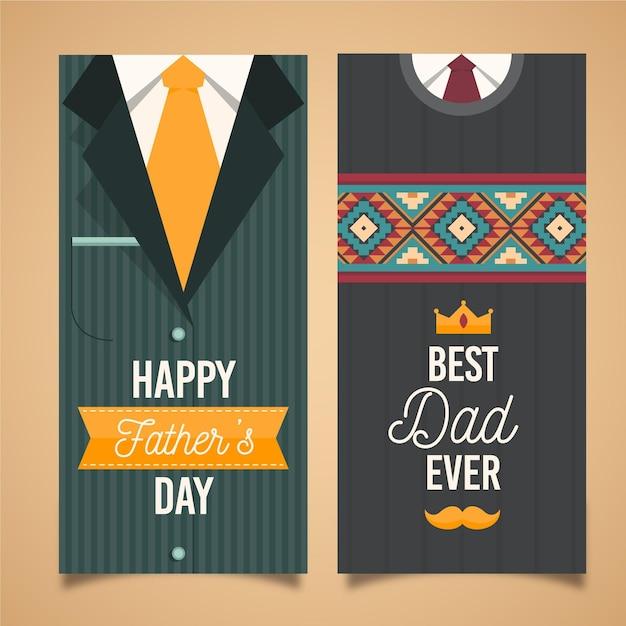 Плоский дизайн отца день вертикальные баннеры Бесплатные векторы