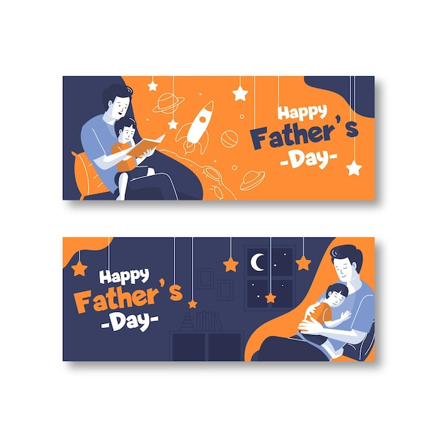 Flat design fathers day banners template Free Vector