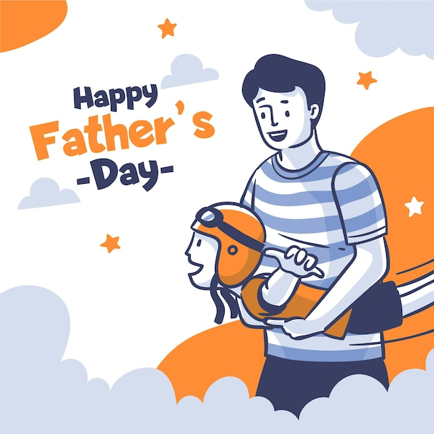 Flat design fathers day concept Free Vector