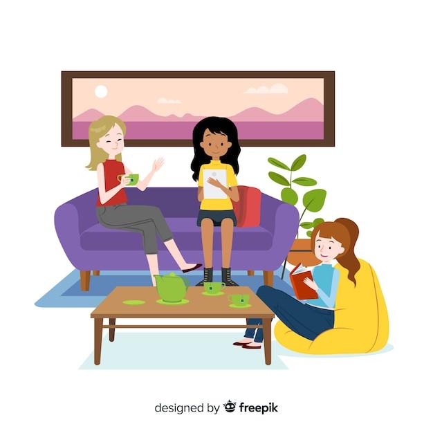 屋内で一緒に過ごすフラットなデザインの女性キャラクター 無料ベクター