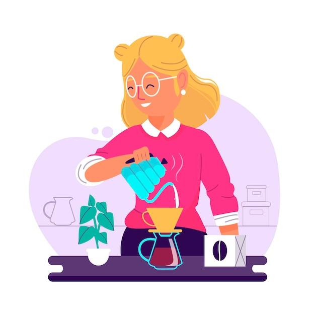Плоский дизайн женщины, делающей кофе Бесплатные векторы