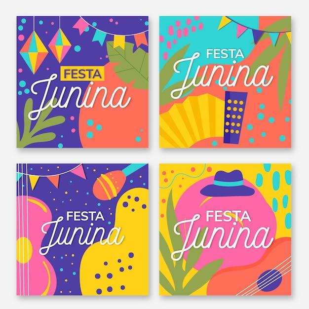 Flat design festa junina card collection Free Vector