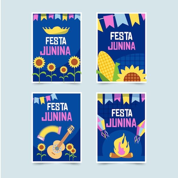 Плоский дизайн коллекции festa junina card Бесплатные векторы