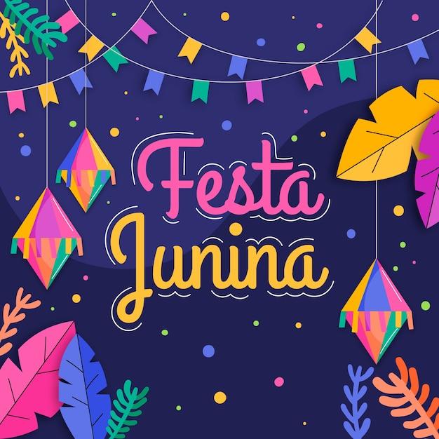Concetto di design piatto festa junina Vettore gratuito