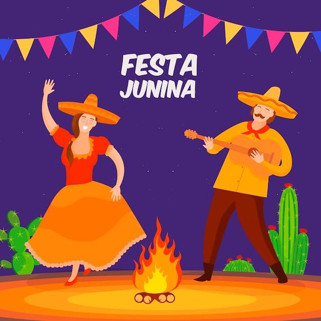 Плоский дизайн festa junina концепция Бесплатные векторы