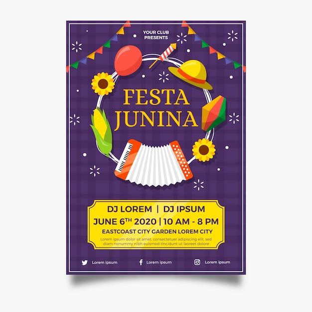 Плоский дизайн плаката festa junina праздничных предметов Бесплатные векторы