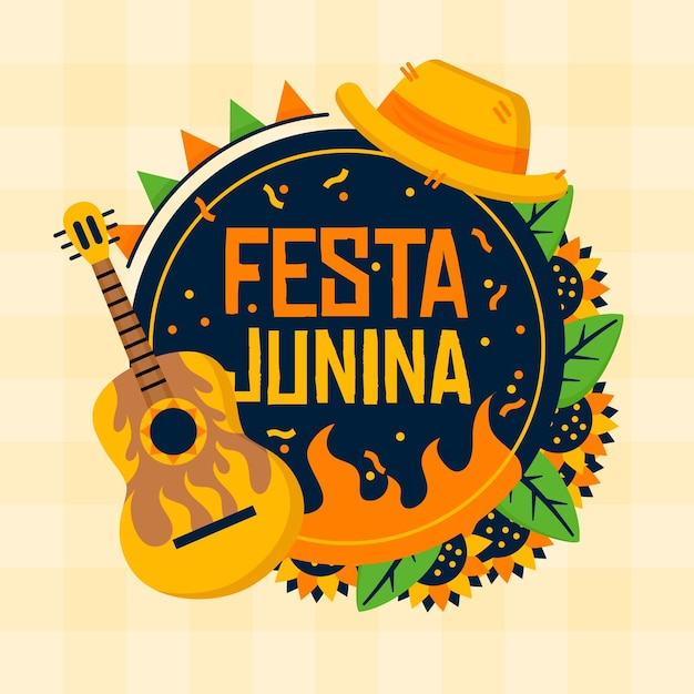 Flat design festa junina guitar instrument Free Vector