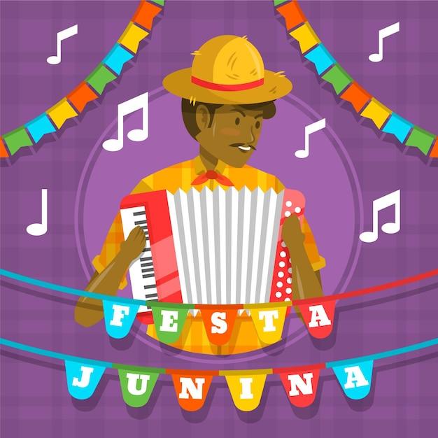 Design piatto festa junina uomo con fisarmonica Vettore gratuito