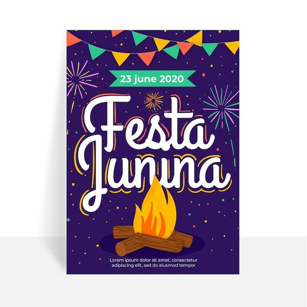 Плоский дизайн шаблона плаката festa junina Бесплатные векторы