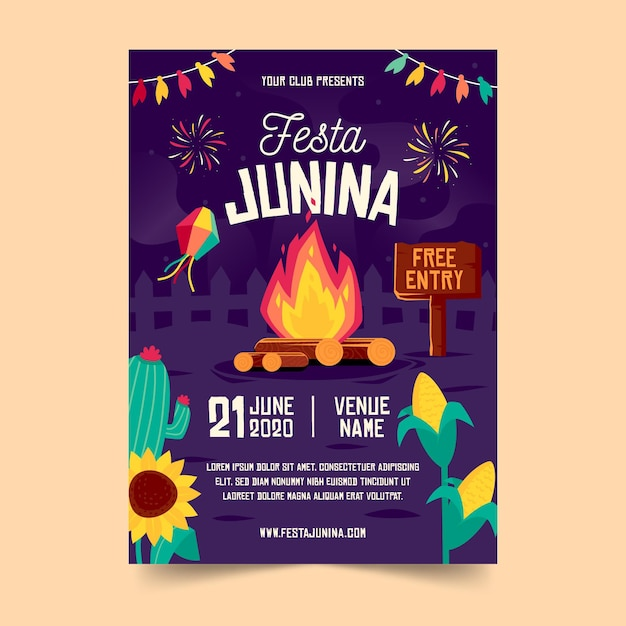 Flat design festa junina poster template Free Vector