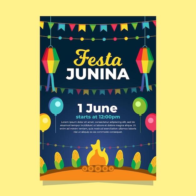 Плоский дизайн плаката festa junina Бесплатные векторы