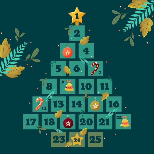 Flat design festive advent calendar Free Vector