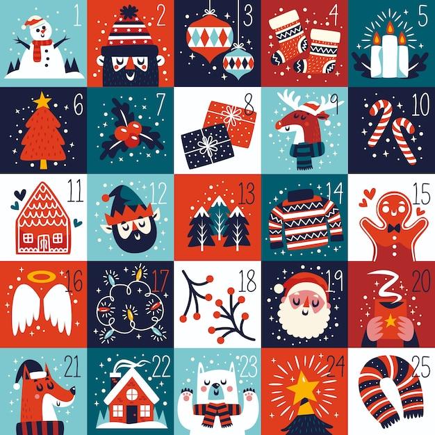 Flat design festive advent calendar Free Vector
