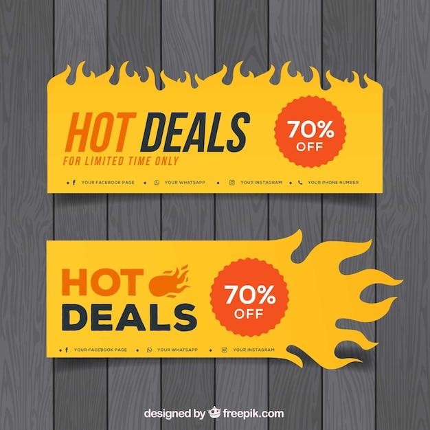 Flat design fire banner Free Vector