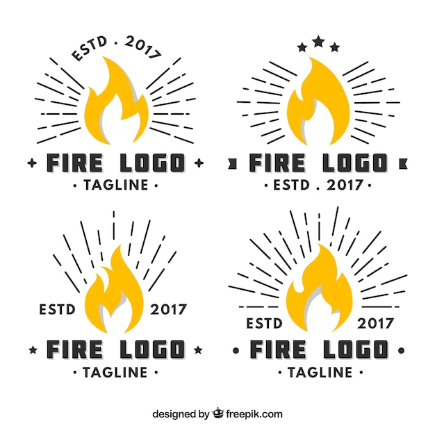 Flat design fire logo collection Free Vector
