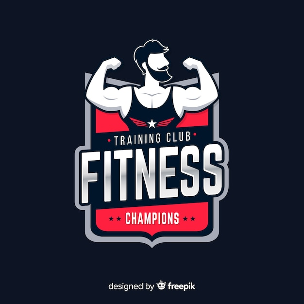 Flat design fitness logo template Free Vector