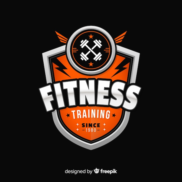Flat design fitness logo template Free Vector