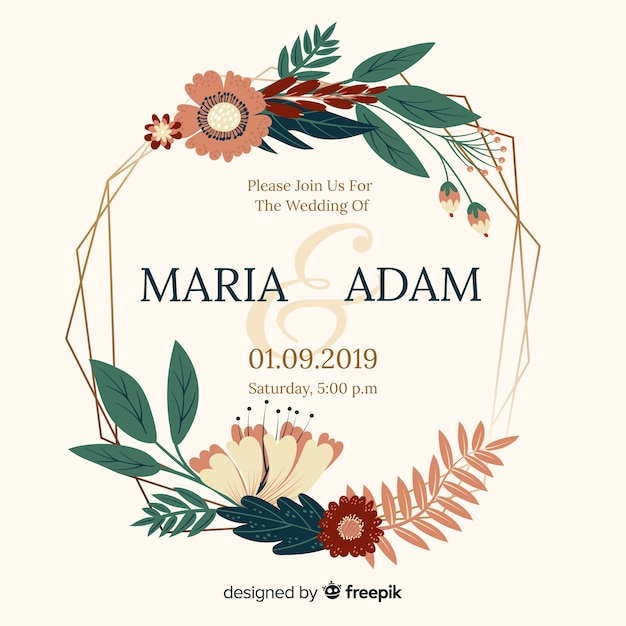 Flat design of flat frame wedding invitation Free Vector