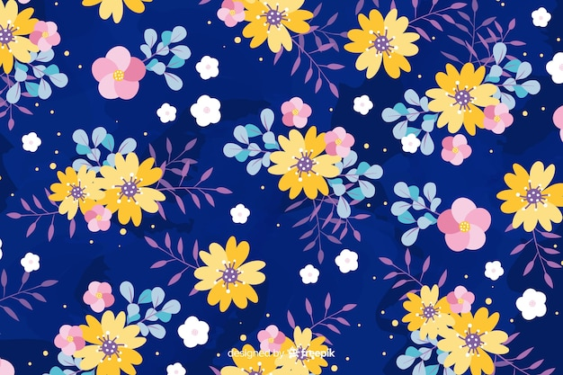 Flat design floral background style Free Vector
