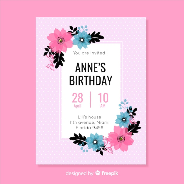 Flat design floral colorful birthday invitation template Free Vector