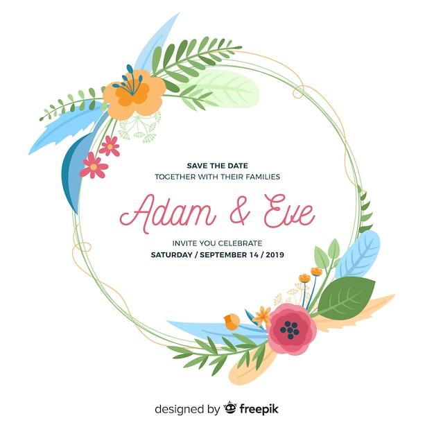 Flat design of floral frame wedding invitation Free Vector