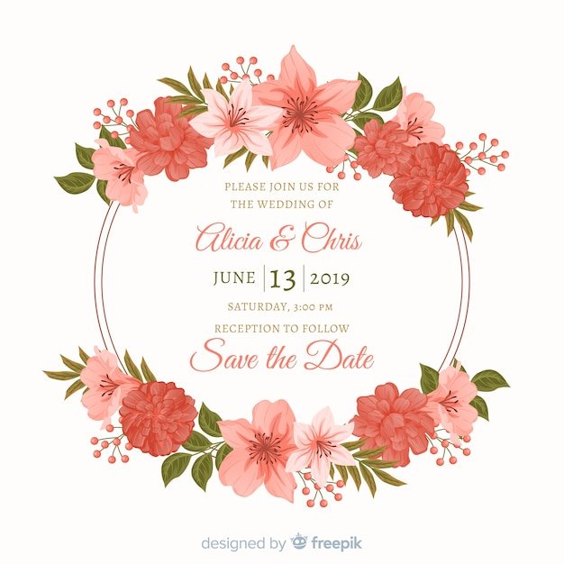 Flat design of floral frame wedding invitation Free Vector