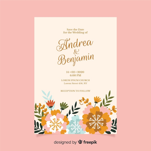 Flat design of floral wedding invitation template Free Vector