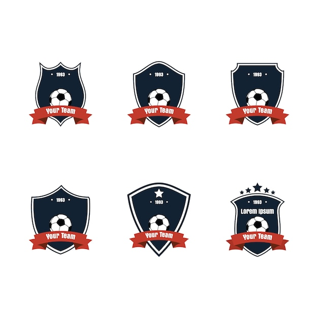 Flat design football or soccer icon or logo set Premium Vector