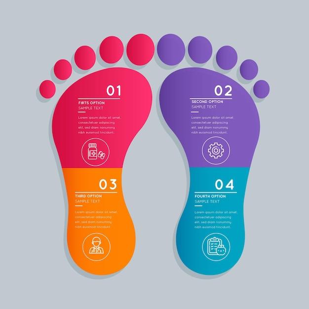 평면 디자인 발자국 인포 그래픽 프리미엄 벡터