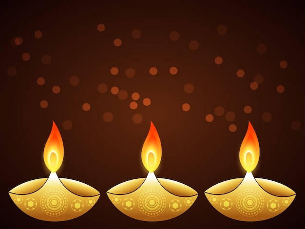 Flat Design For Diwali Festival With Candles Vector Free