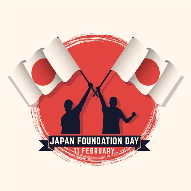 Flat design foundation day (japan) background with people holding flags Free Vector