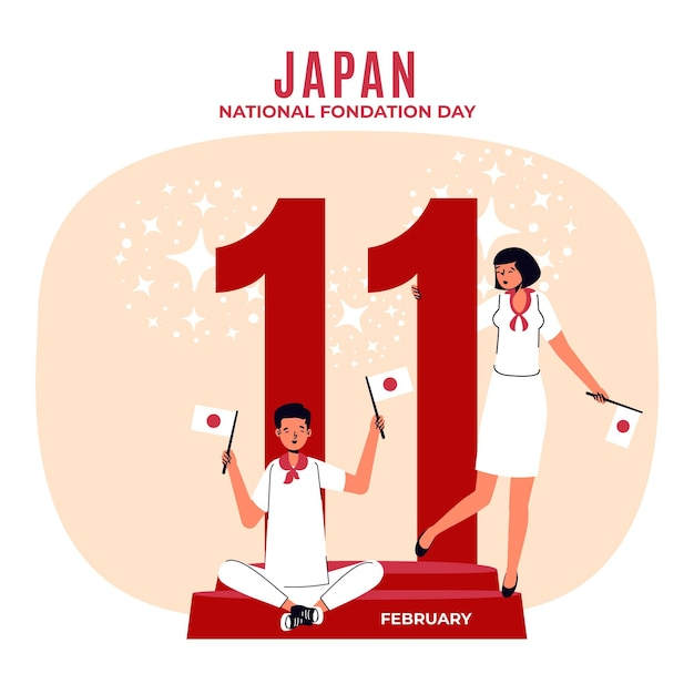 Flat design foundation day (japan) background with people Premium Vector